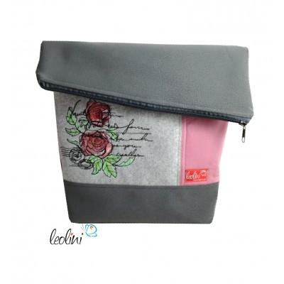 Foldover Tasche Rosen Stickerei - grau rose