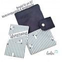 Windeltasche Wickeltasche dunkelblau Schwalbe mit Druckknopf