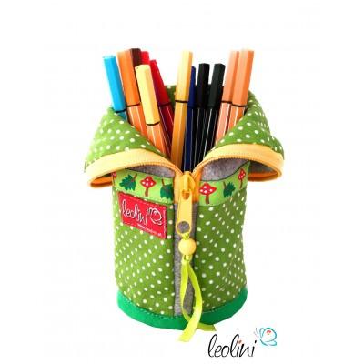 Stehende Stiftetasche, Federmäppchen, Stiftebox mit grüne Punkte