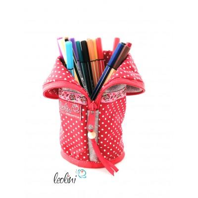 Stehende Stiftetasche, Federmäppchen, Stiftebox mit roten Punkten