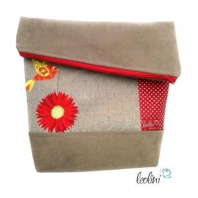 Foldover Tasche Blumen und Vogel Stickerei - beige rot