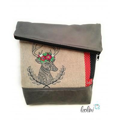 Foldover Tasche mit Stickderei Hirsch - grau