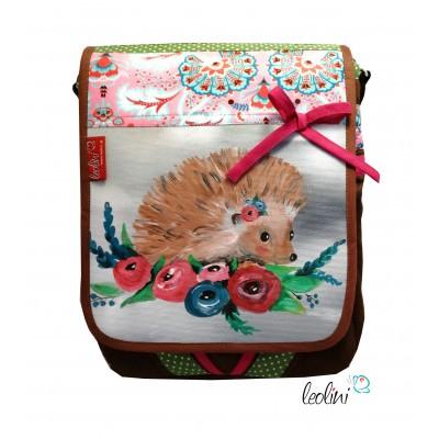 Tasche - Süßer Igel mit Blumenkranz - echter Malerei Umhängetasche