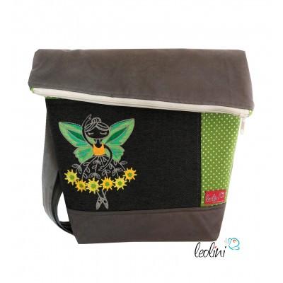 Foldover Tasche mit Stickderei Blumenballerina grau grün