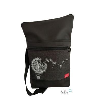 Foldover Tasche Pusteblumen Ballon Stickerei - handgemachte Kunstledertasche