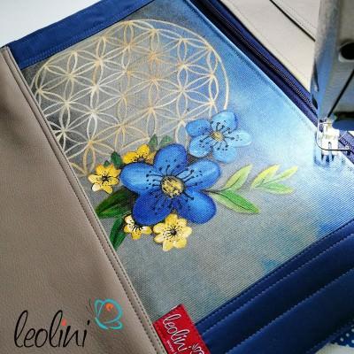 Foldover Tasche mit echter Malerei Blume des Lebens  - ein Einzelstück