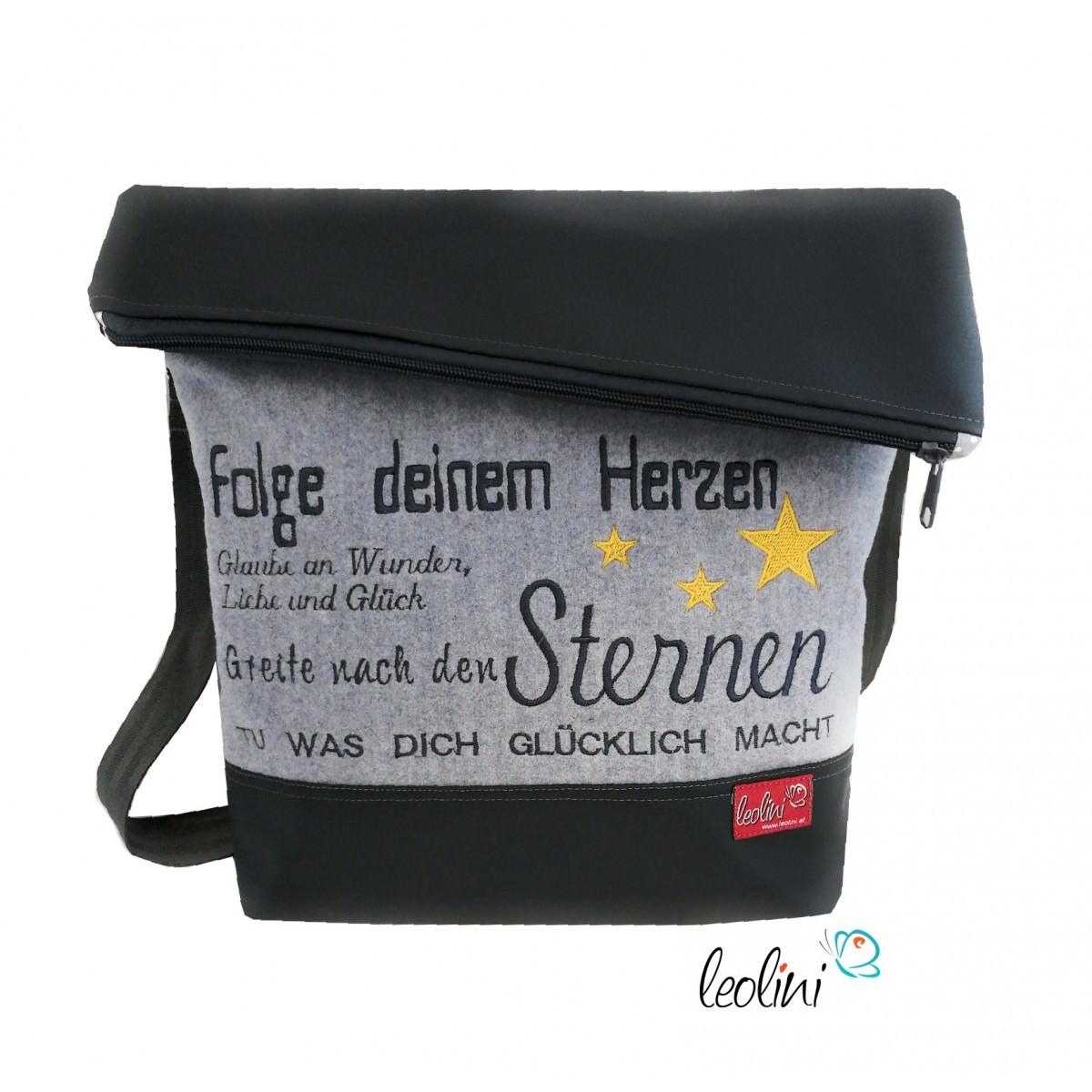 Foldover Tasche Spruch Stickerei Hör nie auf zu träumen - handgemachte Kunstledertasche