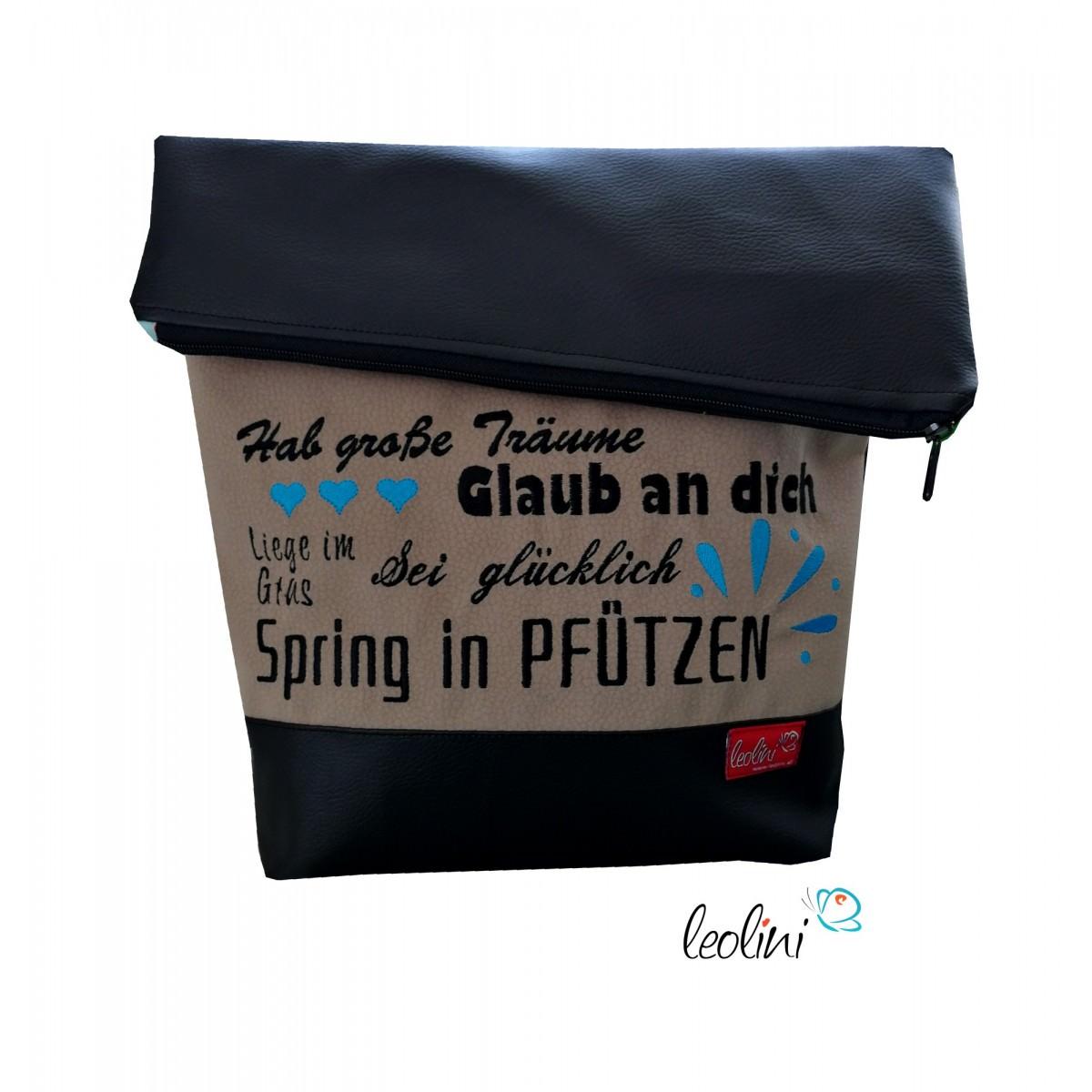 Foldover Tasche Spruch Stickerei Greif nach den Sternen  - handgemachte Kunstledertasche