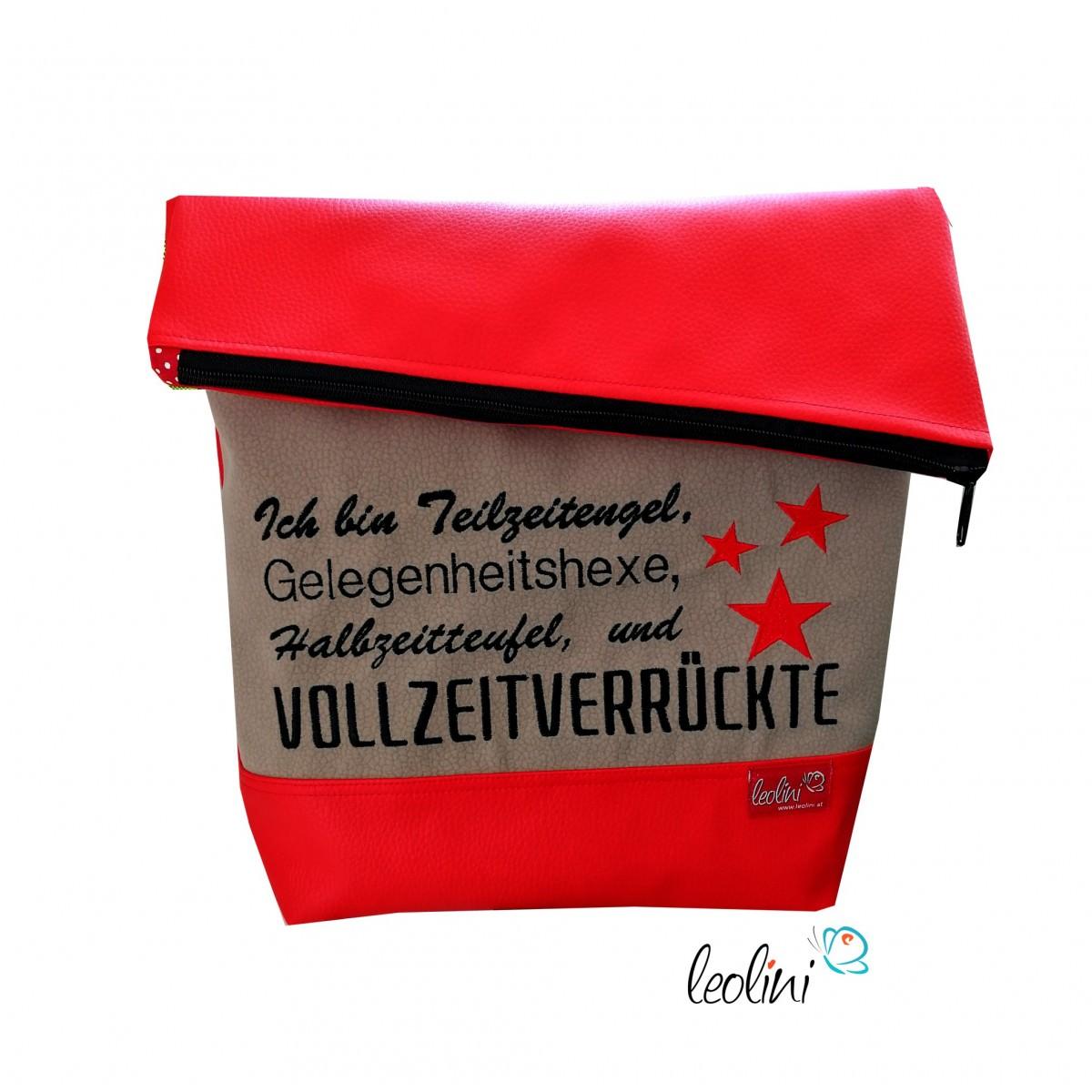 Foldover Tasche Spruch Vollverrückte  - handgemachte Kunstledertasche