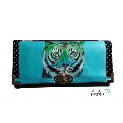 Große Malereigeldbörse - Damen Portemonnaie mit Tiger pink - Hand-painted