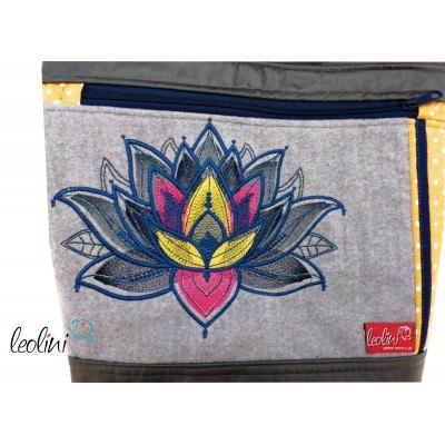 Foldover Tasche Lotusblume Stickerei - mit Außenfach