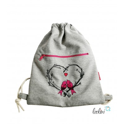 Handmade Sportbeutel Gymbag mit Stickerei Herz