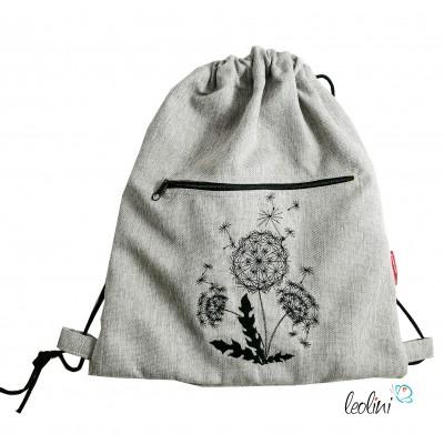 Handmade Sportbeutel Gymbag mit Stickerei Pusteblume