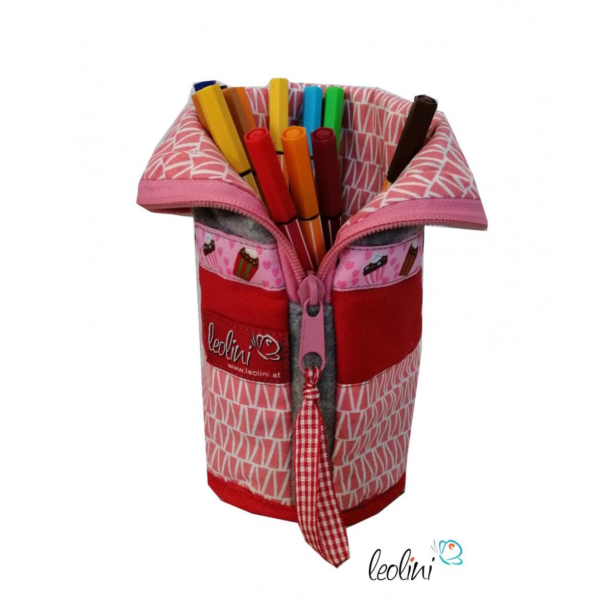Stehende Stiftetasche Stiftepenal Cupcake rosa personalisierbar
