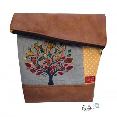 Foldover Tasche Lebensbaum in Herbstfarben Stickerei - mit Außenfach