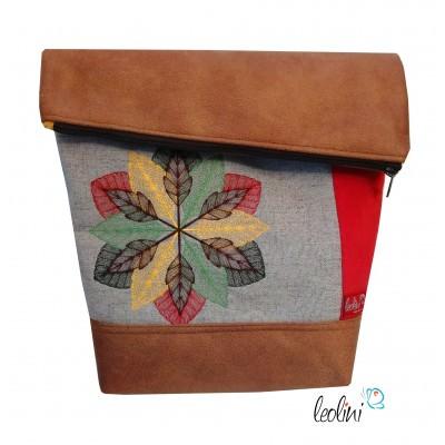 Foldover Tasche Mandala in Herbstfarben - mit Außenfach