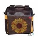 Henkeltasche mit Stickerei Sonnenblume und Blume des Lebens