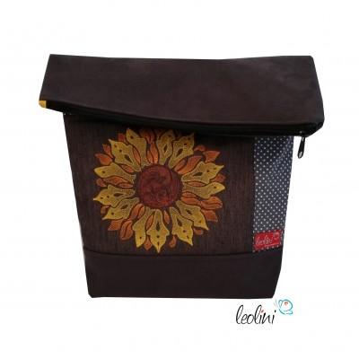 Foldover Tasche Sonnenblume Stickerei - mit Außenfach