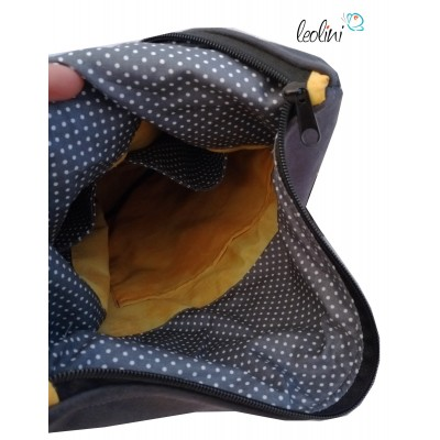 Foldover Tasche Lebensblume Stickerei  - mit Außenfach