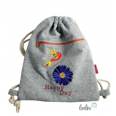 Handmade Sportbeutel Gymbag mit Stickerei Happy Day