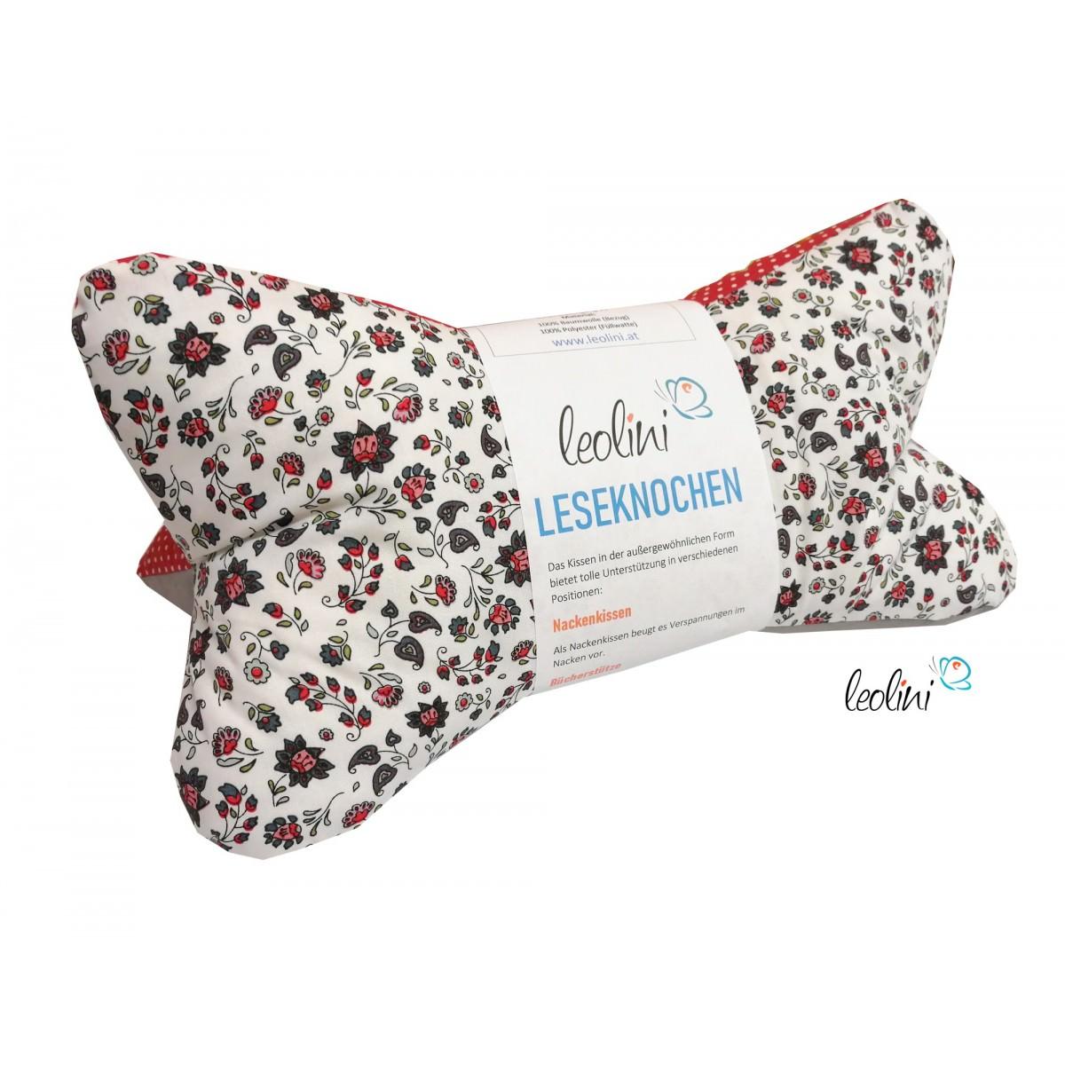 Leseknochen - Lesekissen von Leolini Blumen vintage