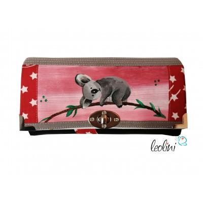 Große Malereigeldbörse - Damen Portemonnaie Koala - handpainted