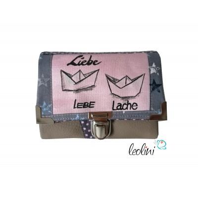 Kleine Geldbörse mit echter Malerei Liebe Lache Lebe - ein Einzelstück