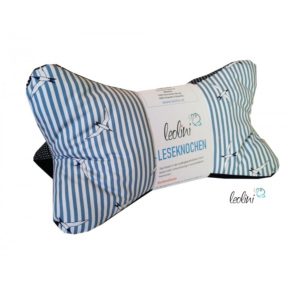 Leseknochen - Lesekissen von Leolini dunkelblau Streifen & Punkte