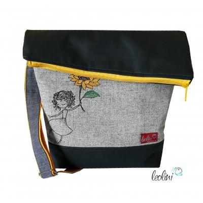 Foldover Tasche Sonnenblumenmädchen Stickerei - mit Außenfach