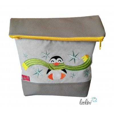 Foldover Tasche Pinguin Stickerei  - mit Außenfach