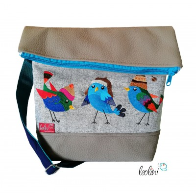 Foldover Tasche Vogerl Stickerei - Foldovertasche mit Außenfach