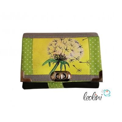 Kleine Geldbörse mit echter Malerei Pusteblume - ein Einzelstück