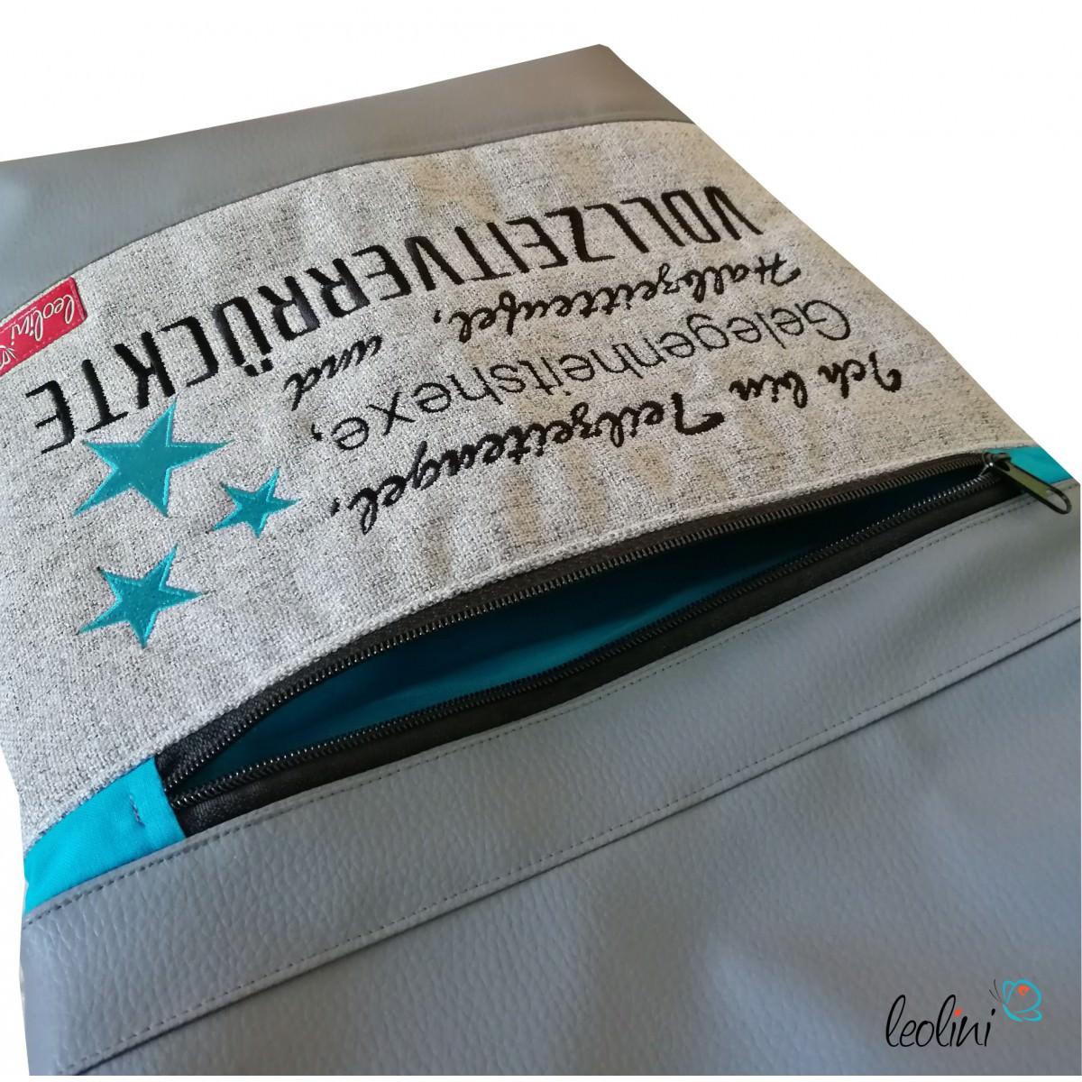 Foldover Tasche Spruch Vollverrückte grau - handgemachte Kunstledertasche