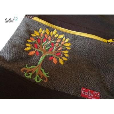 Foldover Tasche Baum des Lebens Stickerei  - mit Außenfach