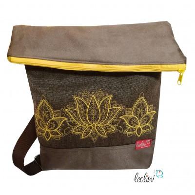 Foldover Tasche Lotusblumen Stickerei - mit Außenfach