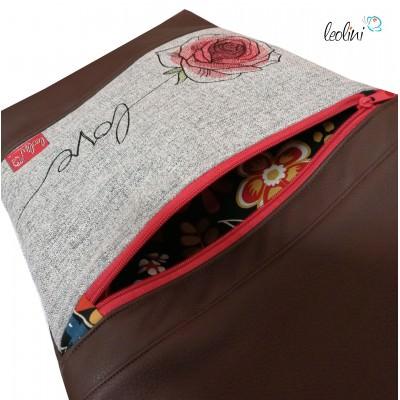 Foldover Tasche Rose Love Stickerei  - mit Außenfach