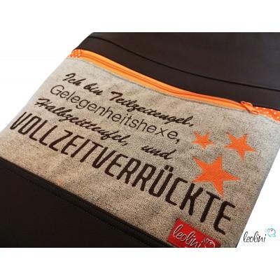 Foldover Tasche Spruch Vollverrückte braun - handgemachte Kunstledertasche