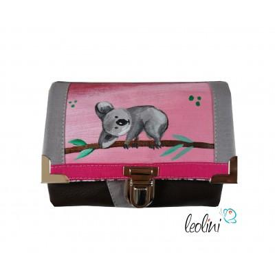 Kleine Geldbörse mit echter Malerei Koala - ein Einzelstück