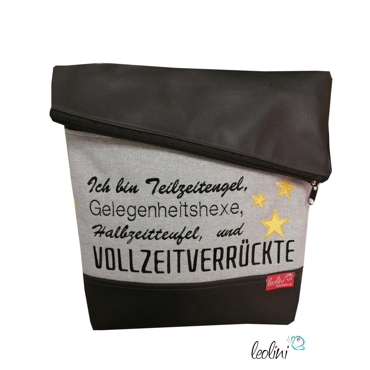 Foldover Tasche Spruch Vollzeitverrückte schwarz - handgemachte Kunstledertasche