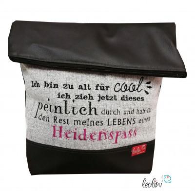 Foldover Tasche Spruch Heidenspaß schwarz - handgemachte Kunstledertasche