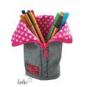 Stehende Stiftetasche Stiftepenal pink mit Spruch
