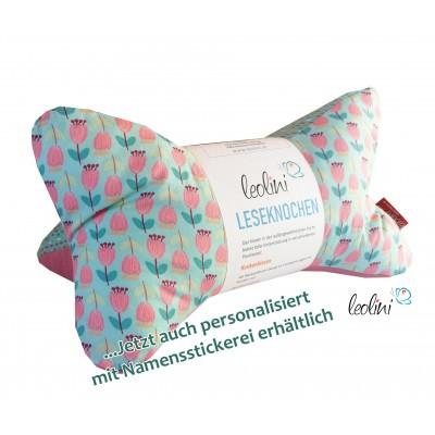 Leseknochen - Lesekissen von Leolini Tulpen rosa mint
