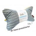 Leseknochen - Lesekissen von Leolini hellblau senf