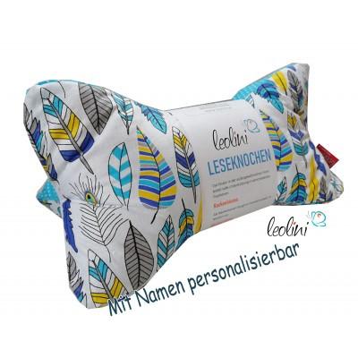 Leseknochen - Lesekissen von Leolini Feder Pfauenfeder blau