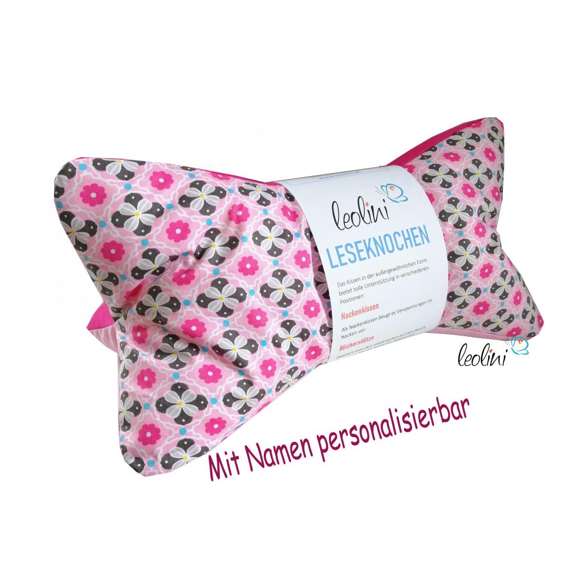 Leseknochen - Lesekissen von Leolini rosa mit Namen