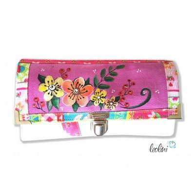 Große Malereigeldbörse - Damen Portemonnaie Blumen pink handpainted