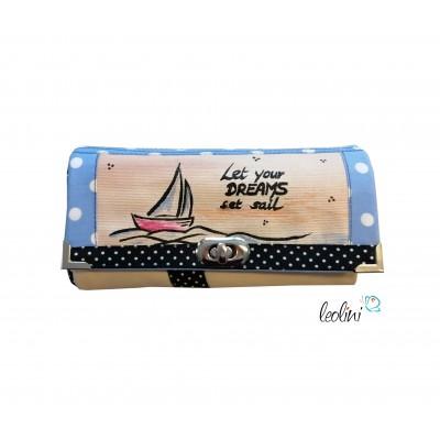 Große Malereigeldbörse - Damen Portemonnaie Set Sail handpainted
