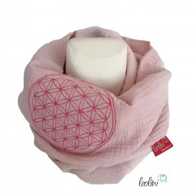 Schlupfschal Loop Schlauchschal Blume des Lebens Stickrei rose