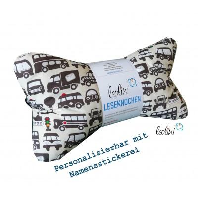 Leseknochen - Lesekissen von Leolini Autos mit Namen