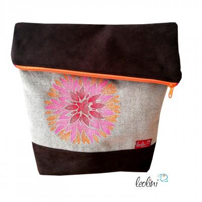 Foldover Tasche Chrysanthemen Stickerei - mit Außenfach